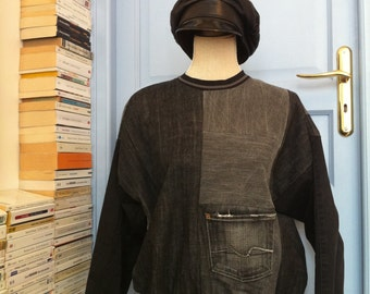 Sweatshirt in patchwork jeans dark grey and black