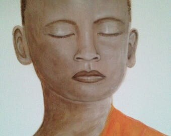 The meditation monk, painting on canvas in acryl