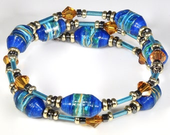 Jewels of the Sea (Upcylced Paper Bead Bracelet/HP0100)