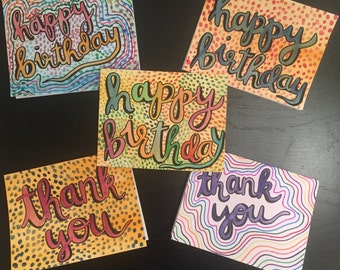 5-Pack Handmade Cards w/ Envelopes  (Birthday + Thank You)