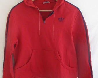 Vintage VENTEX 80s Adidas red Hoodie size S