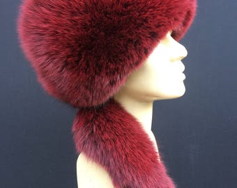 Burgundy Fox Fur Hat with Tail