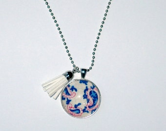 Long Necklace, womens, blue paisley pendant, cabochon, gift for mothers day. Ball chain with pendant and white leather tassel