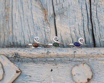 Toe Ring Silver Stones Spiral / Knuckle Ring Silver / Dreadlock Ring / Bague d 'orteil Spirale en argent et pierres / Bague de Phalange
