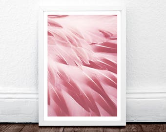 Feather Print, Feather Wall Art, Pink Feathers Print, Nursery Print, Flamingo Art Print, Feathers Poster, Feathers Wall Art, Minimalist Art