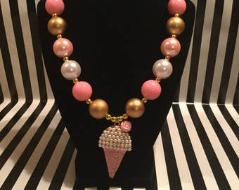 Pink, White, and Gold Bubblegum Bead Necklace with Ice Cream Cone Pendant