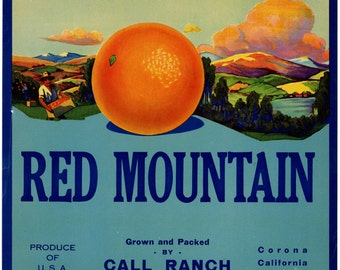 Red Mountain Orange Crate Label