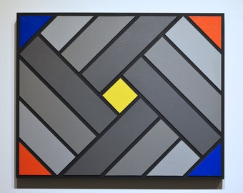Shades of Grey 16 - original contemporary mixed media painting of acrylic on wood