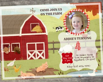Personalized Fun on the Farm Birthday Invitation- Digital File Only- DIY 5x7