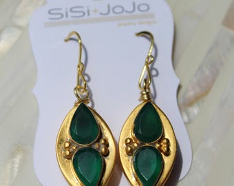 Green Earrings ~ Emerald Earrings ~ For Her ~ Holiday ~ Gift ~ Vermeil