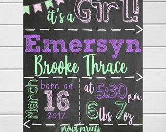 Baby girl chalkboard birth stats announcement printable//Printable birth info//Baby shower gift//Custom birth stats print