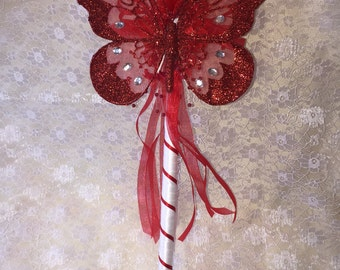 Red and white flower girl wand