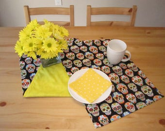 Sugar Skulls Table Runner | Dia de los Muertos, Day of the Dead, Sugar Skulls, Skulls, Rainbow, Yellow Background, Skulls Table Runner