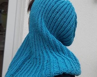 Hood, Scoodie, loop, soft, turquoise blue scarf