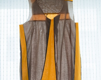 Upcycling top in brown-orange