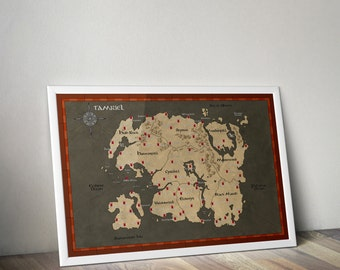 The Elder Scrolls Map, Tamriel Map, Skyrim Map, Morrowind map, Oblivion Map, Wedding Gift, Online map, Anniversary Gift, Bridal Gift