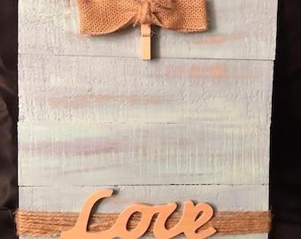 Reclaimed wood love photo holder