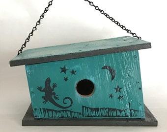 Unique, Handmade, Wooden Birdhouse with Playful Lizard Prints