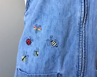 denim overall dress with embroidery