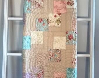 Handmade quilt, Baptist Fan Pastel and Cream Minky Lap Quilt, lap quilt, minky quilt