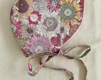 Pink Floral Bonnet with Brim