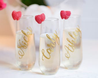 Champagne Flute Bridesmaid Gift Personalized Stemless Glasses Bridesmaid Champagne Glasses Personalized Champagne Flute Monogram Glasses