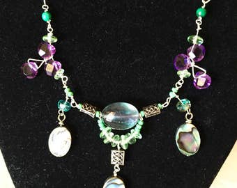 Flourite, abalone three tiered necklace.