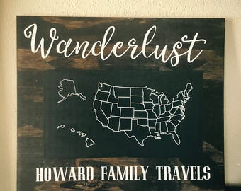 Wanderlust Chalkboard Map of USA
