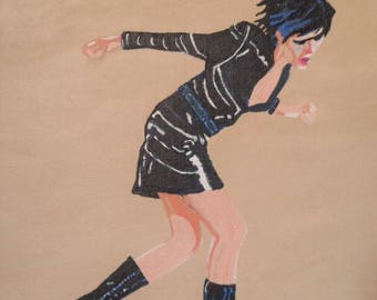 GIRL IN BLACK acrylic painting on canvas panel modern art