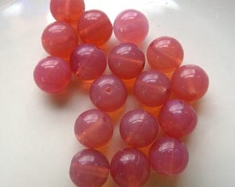 15 Glass Pink Champagne Beads