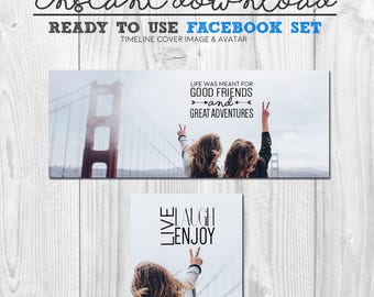 ready to use facebook timeline cover image, premade best friends great adventure travel facebook banner cover header avatar image package