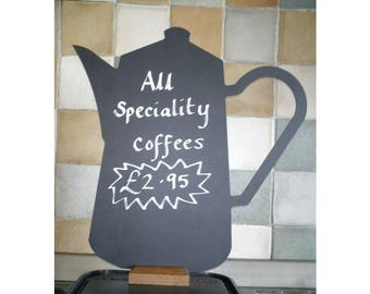 Coffee Pot Shaped Chalkboard With Wooden Base 240mm x 230mm