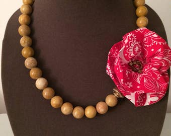 Paisley flower wooden bead necklace