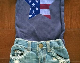 Fourth of july theme/boy/baby boy/toddler boy/distressed denim/ripped shorts/distressed shorts/American flag/star flag/photo prop/baby gift