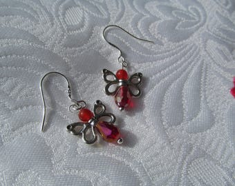 Little red butterfly earrings