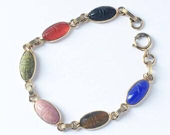 Delicate MidCentury Scarab Bracelet 12k Gold Filled