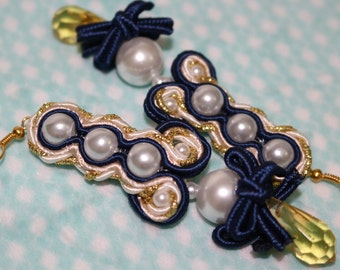 Princess Royal Blue Ribbon Soutache Earrings