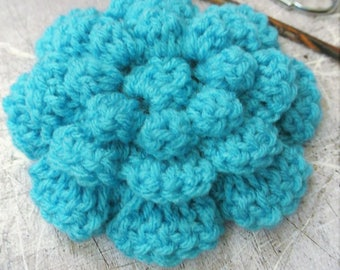 Large Crochet Flower Teal Blue 4.5 inches