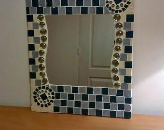 Blue mosaic mirror green, green and blue mosaic miror