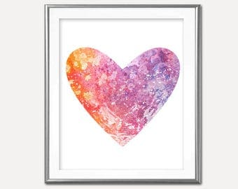 SALE-Orange Pink And Purple Splattered Heart- Digital Print- Wall Art- Digital Designs Home Decor- Gallery Wall- Quote Prints- Typography