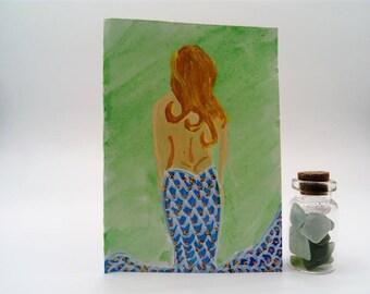 hand painted mermaid card and pot of mermaids tears