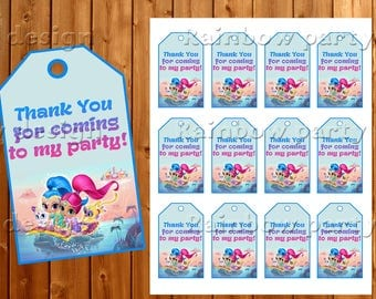 Shimmer And Shine Thank you tags Thank you cards Shimmer and Shine birthday Shimmer Shine tags Shine Party Favor tags Instant download card