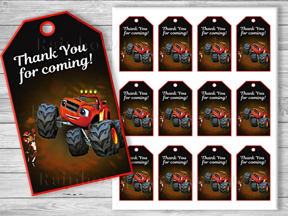 Blaze and the Monster Machines Thank you tags Blaze birthday