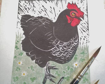 Daisy Chicken lino print. Birds Easter Animals Hens Spring