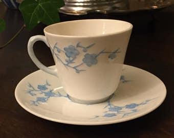 Vintage Spode Bone China Blanche de Chine Geisha Blue Cup and Saucer