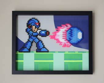Megaman Framed Perler Bead Art