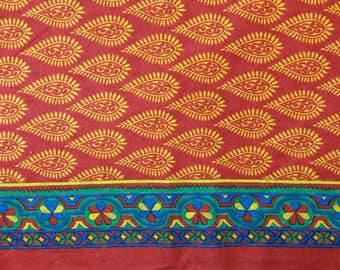 Red and yellow cotton paisley block print Indian fabric with 4 inch border for dress, quilting, nursery