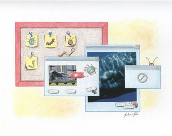 Watercolor, drawing, collage about software tester working activities