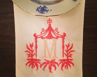 Two Color; One Letter Monogram with Pagoda Linen Dinner Napkin