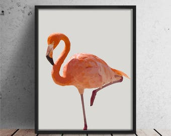 Flamingo Print, Flamingo Art, Tropical Wall Art, Printable Flamingo, Flamingo Poster, Beach Decor, Art Print, Flamingo Photo, Pink Flamingo